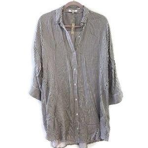 MADEWELL Stripe Play button down Shirtdress- NWT!